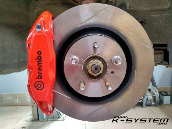 Big Brake Kit – 324×30 + Brembo – front axle EP3/FN2 – red Megane 3 RS calipers | K-SYSTEM.pro